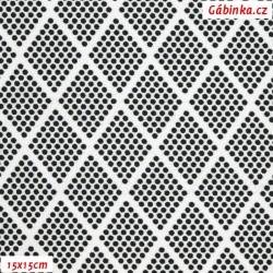 Kočárkovina MAT, Kosočtverce z puntíků černé na bílé, šíře 160 cm, 10 cm, Atest 1