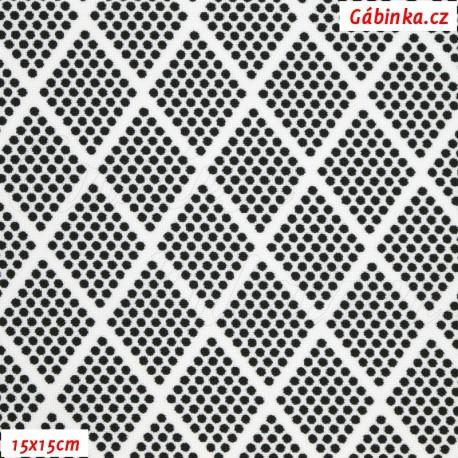 Kočárkovina, Kosočtverce z puntíků černé na bílé, 15x15cm