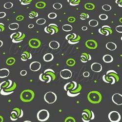 Kočárkovina MAT, zelené kroužky na šedé, šíře 160 cm, 10 cm, Atest 1