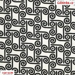 Kočárkovina MAT, Půlspirálky černé na bílé, šíře 160 cm, 10 cm, Atest 1