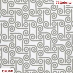 Kočárkovina MAT, Půlspirálky šedé na bílé, 15x15 cm