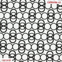 Kočárkovina MAT, Prstýnky černé na bílé, šíře 160 cm, 10 cm, Atest 1