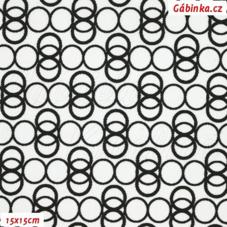 Kočárkovina MAT, Prstýnky černé na bílé, 15x15 cm