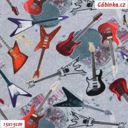Úplet s EL Digitální tisk - Rock Guitars, šíře 175 cm, 10 cm