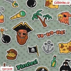 Úplet s EL - Piráti YO-HO-HO na zelených hvězdičkách, šíře 140 cm, 10 cm