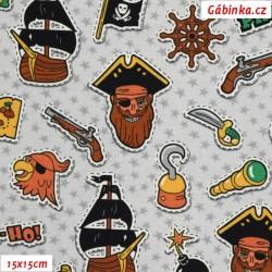 Úplet s EL - Piráti YO-HO-HO na šedých hvězdičkách, šíře 140 cm, 10 cm