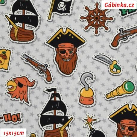 Úplet s EL - Piráti YO-HO-HO na šedých hvězdičkách, 15x15 cm