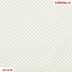 Plátno vánoční - Stříbrné mini puntíky na bílé, šíře 140 cm, 10 cm