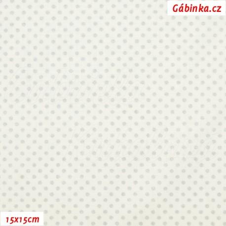 Plátno vánoční - Stříbrné mini puntíky na bílé, 15x15 cm