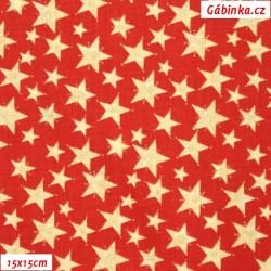 Plátno vánoční - Zlaté hvězdy na jasně červené, šíře 140 cm, 10 cm