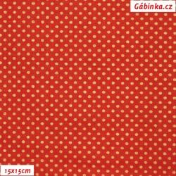 Plátno vánoční - Zlaté mini puntíky na jasně červené, šíře 140 cm, 10 cm
