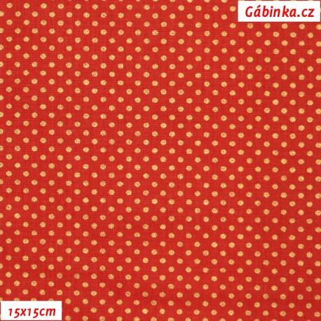Plátno vánoční - Zlaté mini puntíky na jasně červené, 15x15 cm