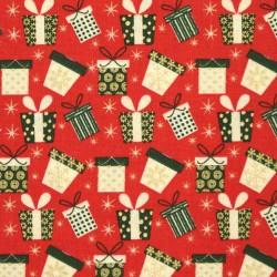 Plátno vánoční - Barevné dárečky na jasně červené, 15x15 cm