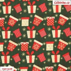 Plátno vánoční - Barevné dárečky na zelené, šíře 140 cm, 10 cm
