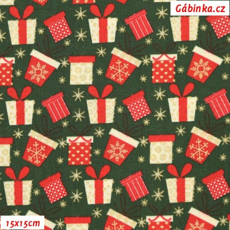 Plátno vánoční - Barevné dárečky na zelené, 15x15 cm