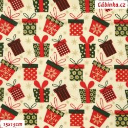 Plátno vánoční - Barevné dárečky na smetanové, 15x15 cm