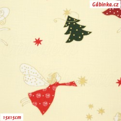 Plátno vánoční - Andílci se stromečky na smetanové, šíře 140 cm, 10 cm