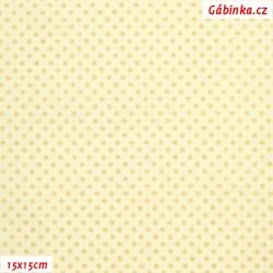 Plátno vánoční - Zlaté mini puntíky na smetanové, šíře 140 cm, 10 cm