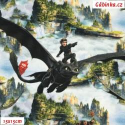 Úplet s EL - Jak vycvičit draka - Draci v oblacích nad útesy, šíře 140 cm, 10 cm