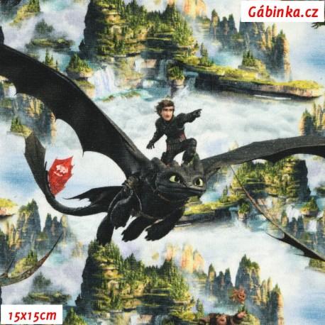 Úplet s EL - Jak vycvičit draka - Draci v oblacích nad útesy, 15x15 cm