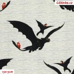 Úplet s EL - Jak vycvičit draka - Černí draci na světle šedém melíru, šíře 140 cm, 10 cm