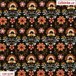 Manšestr, prací kord - Barevné ornamenty na černé, šíře 145 cm, 10 cm