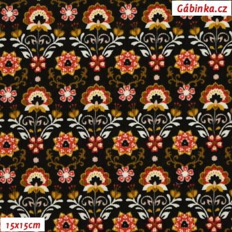 Manšestr, prací kord - Barevné ornamenty na černé, 15x15 cm