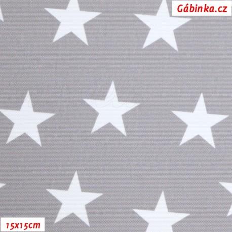 Kočárkovina Premium, Hvězdy na středně šedé, šíře 155 cm, 10 cm