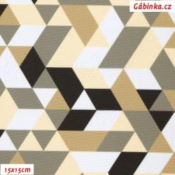 Kočárkovina Primax, Trojúhelníky béžové, šíře 160 cm, 10 cm