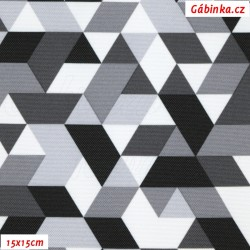 Kočárkovina Primax, Trojúhelníky šedé, šíře 160 cm, 10 cm