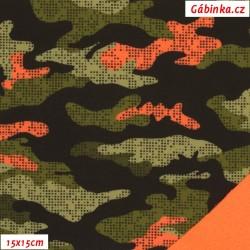 Zimní softshell - Maskáč khaki oranžový/oranžový NEON, 15x15 cm