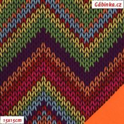 Zimní softshell - Pletený cikcak, oranžový NEON, 15x15 cm