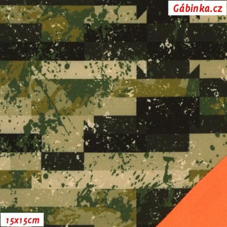 Zimní softshell - Cihly DIRTY khaki, oranžový NEON, 15x15 cm