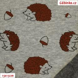Warmkeeper - Ježci na šedém melíru, šíře 150 cm, 10 cm