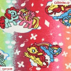 Úplet s EL - My Little Pony - koníci na duhových proužcích, šíře 160 cm, 10 cm