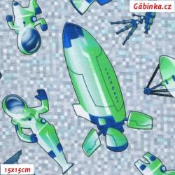 Úplet s EL - Rakety a kosmonauti zelenomodří na kostičkách, 15x15 cmm