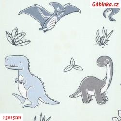 Plátno - Dinosauři modří a šedí na bledě modré, 15x15 cm