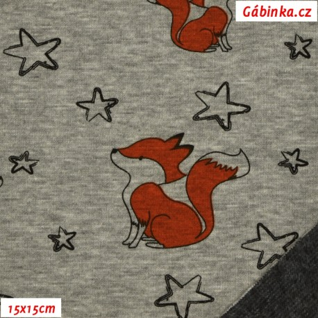 Warmkeeper - Lišky s hvězdičkami na šedém melíru, 15x15 cm