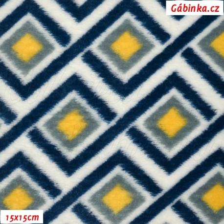 Plyš - Coral Fleece ITALY - Propletený modrý cik-cak se žlutými čtverečky na bílé, 15x15cm