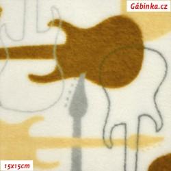 Plyš - Coral Fleece ITALY - Kytary na bílé, 15x15cm
