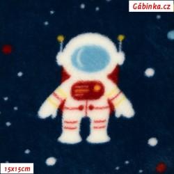 Plyš - Coral Fleece ITALY - Kosmonauti na tmavě modré, 15x15cm