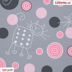 Kočárkovina Premium, Kočky na šedé s růžovými kolečky, šíře 155 cm, 10 cm, ATEST 1