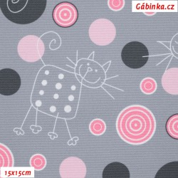 Waterproof Fabric Premium - Cats on Gray with Pink Polka Dots, width 155 cm, 10 cm, Certificate 1