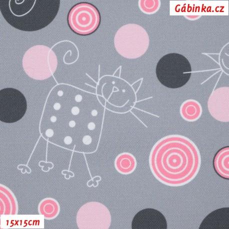 Kočárkovina Premium, Kočky na šedé s růžovými kolečky, 15x15 cm