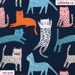Kočárkovina Premium - Kočky na tmavě modré, šíře 155 cm, 10 cm, ATEST 1, 2. jakost