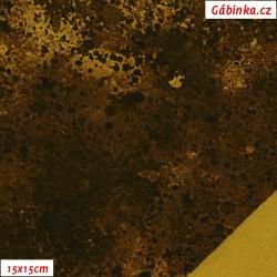 Teplákovina s EL - Stainy Style hořčicová-hnědá, 15x15 cm