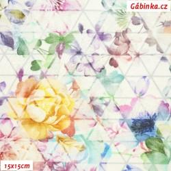 Úplet s EL Digitální tisk - Květiny na trojúhelnících na bílé, šíře 140 cm, 10 cm