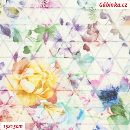 Úplet s EL Digitální tisk - Květiny na trojúhelnících na bílé, 15x15 cm