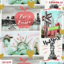Úplet s EL Digitální tisk - New York v obrázcích, šíře 140 cm, 10 cm