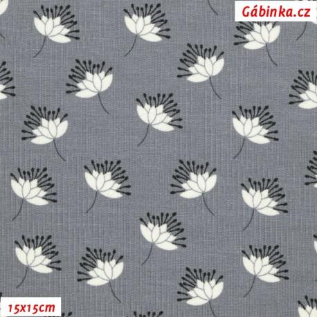 Teplákovina MODAL - Rozházené květy na šedé, 15x15 cm